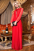 Изысканное Вечернее Платье в Пол с Кружевной Спиной Красное S-XL