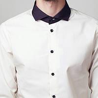 Модная приталенная рубашка мужская белая, серая, розовая, молочная