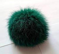 Бубон (помпон) зеленый из натурального меха, диаметр 7-12 см, фото 1