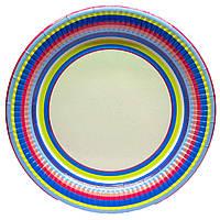 """Тарелки """"Цветные полоски"""". Размер: 22см. В упак: 10шт."""