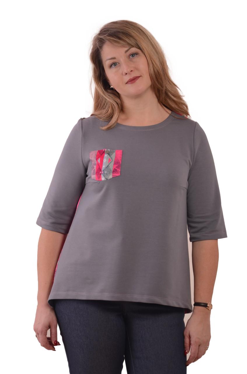 Свитшот теплый серый с шелковой спинкой  нарядный блуза женская кофточка