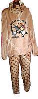 """Женская пижама из полированной махры """"Animals"""" светло-коричневый"""
