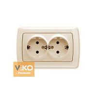 Розетка двойная с заземлением крем Viko (Вико) Carmen (90562056)