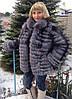 Шуба-трансформер из меха финской чернобурки (роспуск) 75 см