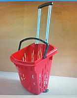 Покупательская корзина на колесах с ручкой / пластиковые корзины-тележки для покупок 40 л