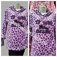 """Женская пижама """"Тройка"""" махра леопард фиолетовый"""