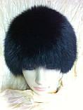 Женская песцовая шапка паричок цвет черный, фото 3