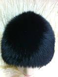 Женская песцовая шапка паричок цвет черный, фото 5