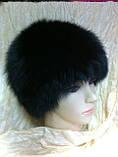 Женская песцовая шапка паричок цвет черный, фото 6
