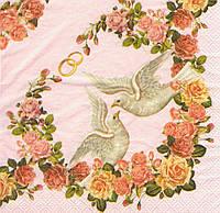 Салфетка декупажная Свадебные голуби 6676