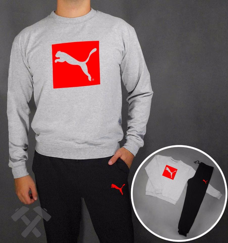 Спортивный костюм серо-черный Puma (красный принт)