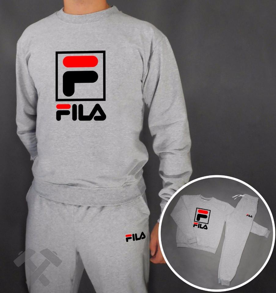 Спортивный костюм серый Fila (больш. лого)
