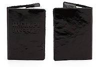 Кожаная обложка на паспорт Лакированный Уголь