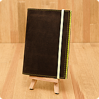 Кожаная обложка на паспорт Орех - Лайм