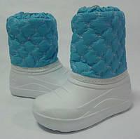 Детские теплые, не промокаемые дутики-сноубутсы из EVA девочкам на осень зиму и весну р.30-33 бело-голубые