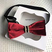 """Мужская бабочка """"Бархат бордовая"""" в подарочной коробке."""