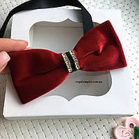 """Мужская бабочка """"Бархат красная"""" в подарочной коробке., фото 1"""