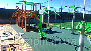 Бесшовное резиновое покрытие для детской площадки, 15 мм