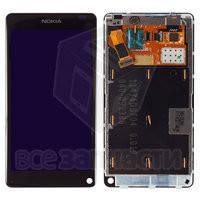 Nokia N9,Дисплейный модуль для мобильного телефона, черный,с рамкой