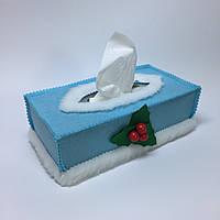 Чехол для коробки с бумажными салфетками #2. Голубой.
