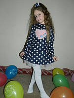 Стильное детское платье сердечки