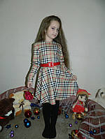 Нарядное детское шерстяное платье в клетку и с поясом