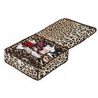 Коробочка для белья на 24 секции с крышкой леопард
