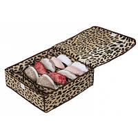 Коробочка для белья на 7 секций с крышкой леопард