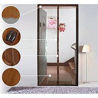 Дверная антимоскитная сетка на магнитах коричневая