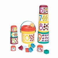 """Развивающие и обучающие игрушки «Battat» (BT2408Z) набор """"Сортер-пирамидка: 2 в 1"""", 19 предметов"""