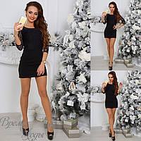 Чёрное нарядное мини платье кружевом. р-ры от 42 до 54. 4 цвета.