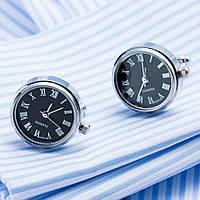 Запонки Bow Tie House Basic элитные черные с механизмом часов quartz watch 08822