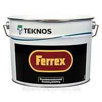 Антикоррозийная краска-грунт по ржавчине и оцинковке Teknos Ferrex (Текнос Феррекс), 10л, красная