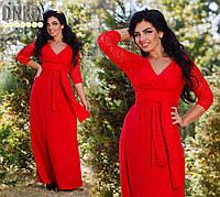 Платье вечернее батал,Ткань трикотаж-масло Star Tex + гипюр стрейчевый, Цвет электрик, синий, красный ДГ № 791