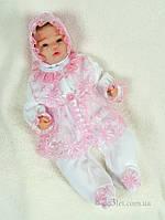 """Нарядный комплект для новорожденной велюр """"Мальвина"""" Lari 1_5_011_8_2 р.56 белый с розовым"""