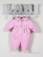 """Демисезонный комбинезон для новорожденной девочки """"Рюша"""" Lari 1_2_07_9 р.56 розовый"""