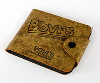 Стильный мужской кошелек Bovi's Genuine Leather Бежевый