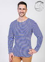 Теплая мужская футболка (тельняшка) (Белый, синий, мелкая полоска)