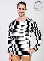 Теплая мужская футболка (тельняшка) (Белый, черный, мелкая полоска)