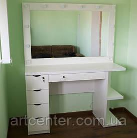 Стол для парикмахера, визажиста с зеркалом с подсветкой ЛЕД лампами, стол визажный, столик туалетный