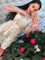 Женское стильное платье из кружева и сетки с бисером