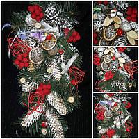 """Новогоднее украшение - ветка (на двери),""""Птичка на ветке"""" 150/140,  45 см"""