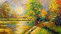 «На закате у реки» картина маслом