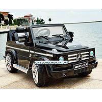 Электромобиль детский джип с мягкими колесами Mercedes G 55 EBLRS-2 черный, автопокраска и кожаное сиденье