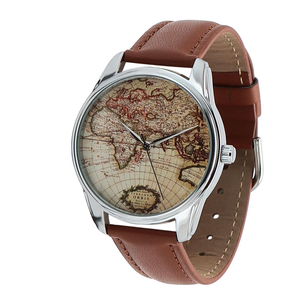 """Часы ZIZ маст-хэв """"Карта"""" (коричневый, серебро) 1404303"""