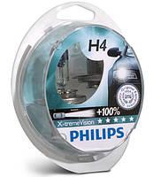 Автолампы H4 12V 60/55W Philips +100% X-tremeVision (P43) (к-кт 2шт)