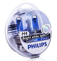 Автолампы H4 12V 60/55W Philips CrystalVision (P43) (к-кт 2шт)