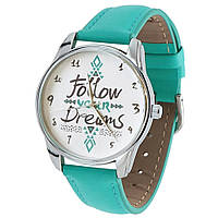 "Часы ZIZ маст-хэв ""Follow your dreams"" (бирюзовый, серебро) 1409808"