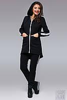 Черный спортивный костюм с удлиненной кофтой, тракторная змейка . Арт-9514/17
