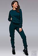 Зеленый спортивный костюм с начесом, батник с кенгурушкой . Арт-9515/17